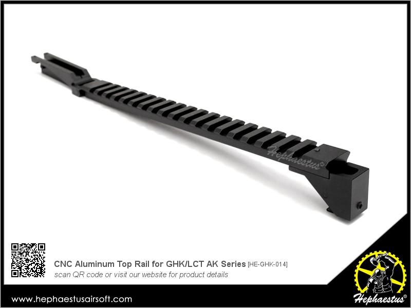 Cnc aluminum top rail for ghk lct ak series hephaestus