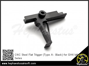 CNC Steel Flat Trigger (Type A - Black) for GHK M4 Series