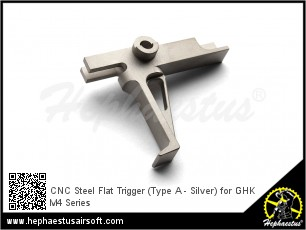 CNC Steel Flat Trigger (Type A - Silver) for GHK M4 Series